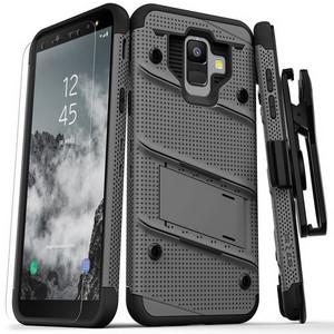 Zizo Military 12-Foot Drop Grade Bolt Combo Case, Kick Stand, Belt Clip & Glass Screen Protector (Grey)