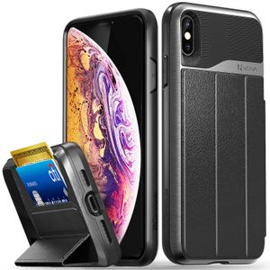 Vena vCommute iPhone Xs Max Wallet Case, Military Grade Drop Protection Flip Leather Cover Card Slot Holder (Gray/Black)