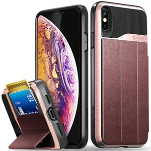 Vena vCommute iPhone XR Wallet Case, Military Grade Drop Protection Flip Leather Cover Card Slot Holder (Rose/Gold)