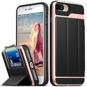 Vena vCommute iPhone 7/8 Plus Wallet Case, Military Grade Drop Protection Flip Leather Cover Card Slot Holder (Rose/Gold)