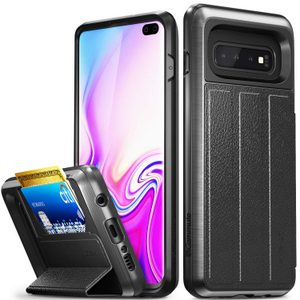 Vena vCommute Galaxy S10+ Wallet Case, Military Grade, Protection Flip Leather Cover Card Slot Holder (Gray/Black)