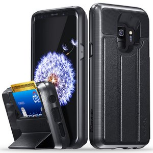 Vena vCommute Galaxy S8+ Wallet Case, Military Grade, Protection Flip Leather Cover Card Slot Holder (Gray/Black)
