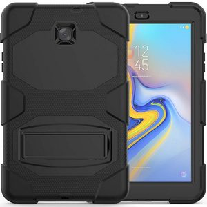 Premium Galaxy Tab A 8.0 2018, Heavy Duty Rugged Full-Body Hybrid Shockproof Drop Protection Cover w/Kickstand (Black)