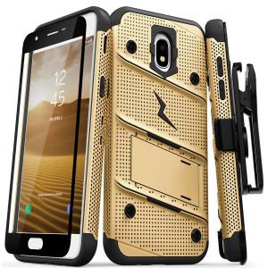 Zizo Military 12-Foot Drop Grade Bolt Combo Case, Kick Stand, Belt Clip & Glass Screen Protector (Gold)