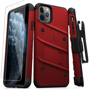 Zizo MILITARY 12-Foot Drop Grade Bolt Combo Case, Kick Stand, Belt Clip & Glass Screen Protector (Red & Black)
