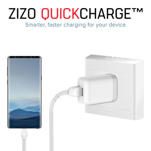Zizo 2.1A Rapid Micro-USB Travel/Wall Charger w/Detachable (6-Foot) Cord (White)