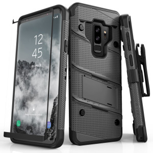 Zizo Military 12-Foot Drop Grade Bolt Combo Case, Kick Stand, Belt Clip & Glass Screen Protector (Gun Metal Gray)