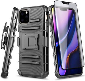 Premium FITTED Duo Armor Combo Case w/Belt Clip & Tempered Glass Screen Protector (Black)