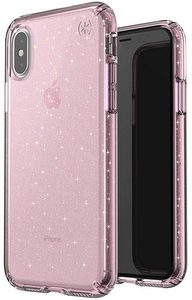Speck - Presidio Clear + Glitter Case for Apple iPhone Xs / X - Bella Pink And Gold Glitter