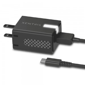 Xentris Universal 3.0A Rapid Type-C Travel/Wall Charger w/Detachable Cord (Black)