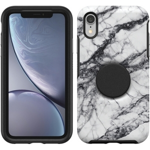 OtterBox Otter + Pop SYMMETRY Case with PopSockets Swappable PopGrip for Apple iPhone XR - White Marble