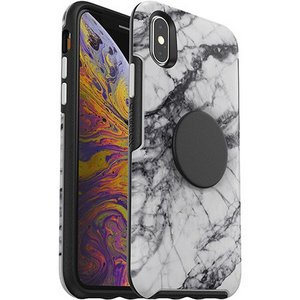 OtterBox Otter + Pop SYMMETRY Case with PopSockets Swappable PopGrip for Apple iPhone XS Max - White Marble