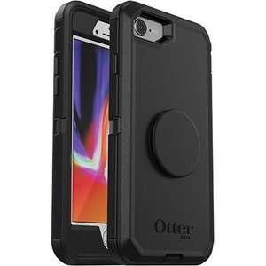 OtterBox Otter + Pop DEFENDER Case with PopSockets Swappable PopGrip for Apple 8/7 - Black