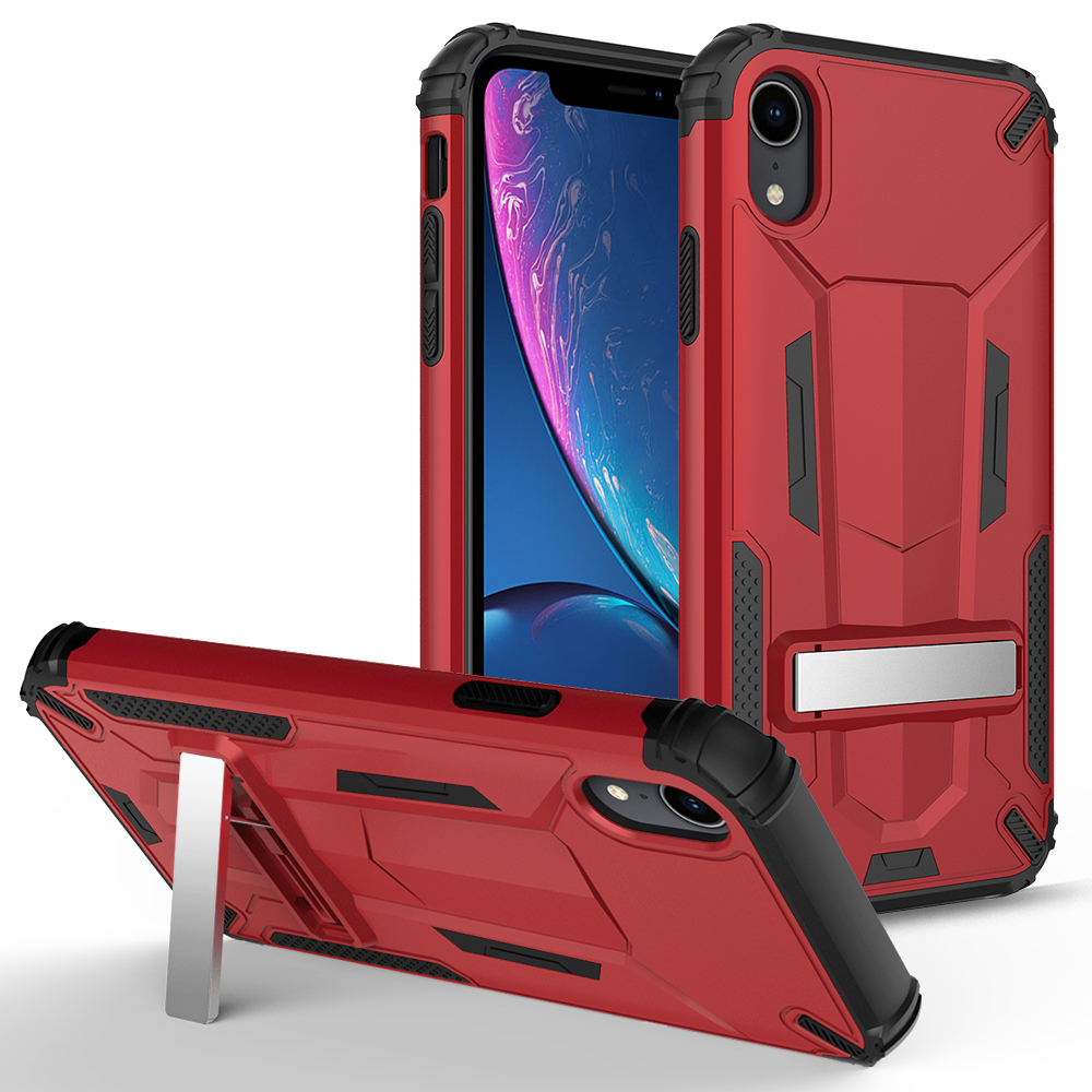 ZIZO TRANSFORM Series iPhone XR Case - Built-In Kickstand and UV Coated PC/TPU Layers Red