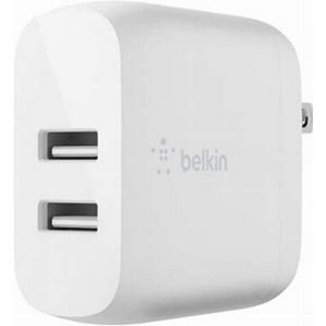 Belkin Universal Super Fast Dual Port USB-A 24W Wall Charger Adapter Only  - White
