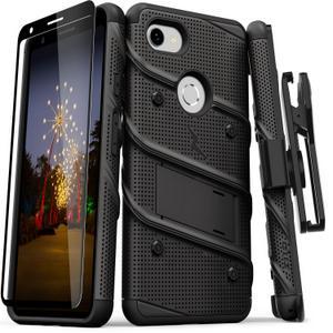 Zizo Military 12-Foot Drop Grade Bolt Combo Case, Kick Stand, Belt Clip & Glass Screen Protector (Black)