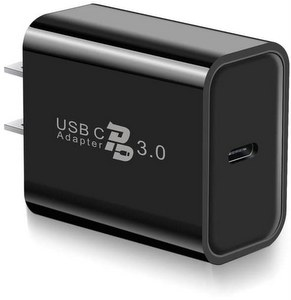 Premium USB-C Single Port Wall Charger, 18W Type-C Fast Charger PD 3.0  Delivery Adapter - Black