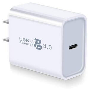 Premium USB-C Single Port Wall Charger, 18W Type-C Fast Charger PD 3.0 Delivery Adapter - White