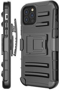 Premium FITTED Duo Armor Combo Case w/Stand & Belt Clip for Apple iPhone 12 / 12 Pro  (BLACK)