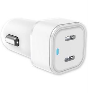 Qmadix - USB-C Dual Port Power Delivery Car Charger 20W - White