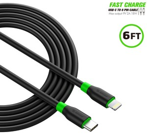 Premium Charge/Sync USB-C to Lightning (8-pin) (6-Foot) Fast Charging Cable - Black