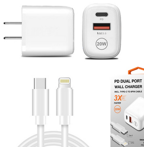 Premium Wall Adapter w/Dual Port (USB-A & USB-C) & Lightning / USB-C (3-Ft)Cable & Power Deliver 20W (White)