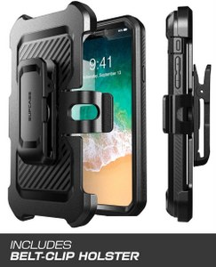 SUPCASE Full-Body Rugged Holster Case with Built-In Screen Protector Kickstand for iPhone Xs (Black)