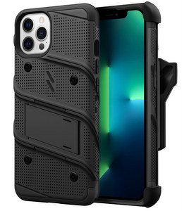 Zizo Military 12-Foot Drop Grade Bolt Case, Kick Stand, Belt Clip & Screen Protector (iPhone 13 Pro)(Black)